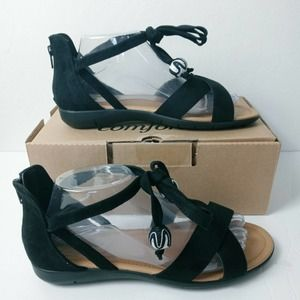 Comfortview Beckett faux suede sandals ankle ties
